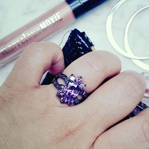 Jewelry - Vintage Gothic Purple CZ Black Gold Ring